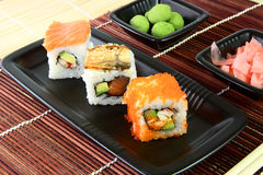 Sushi in the brown napkin. Sushi. vasabi and ginger in the brown napkin Stock Photo