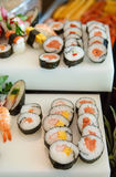Sushi on Buffet Vertical Royalty Free Stock Image