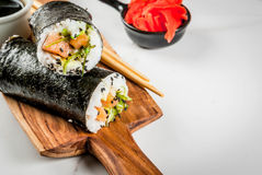 Sushi-burrito, sandwich photographie stock libre de droits
