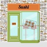 Sushi cafe. Fast food bar. Sushi sticker on window. Stone facade. Vector illustration Royalty Free Stock Photos