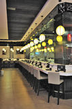 Sushi cafeteria. A sushi cafeteria with a row seats Royalty Free Stock Image