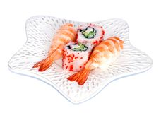 Sushi and California Maki on a plate Royalty Free Stock Images