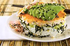 Sushi California Roll. With fresh avocado on bamboo place mat and wood chop sticks Stock Photography
