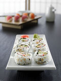Sushi - california roll all in focus. Photo of a california roll with all of the sushi in focus Stock Photography