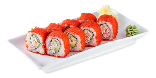 Sushi California Roll plate isolated on white Royalty Free Stock Images