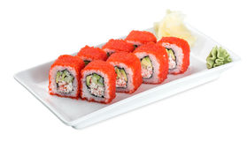 Sushi California Roll plate isolated on white. Sushi California Roll  plate - isolated on white background Stock Photography