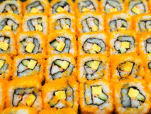 Sushi california roll. Traditional fresh japanese food 'california roll'. Delicious meal. Royalty Free Stock Photo