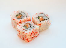 Sushi california roll. Sushi california roll with tuna in caviar. Selective focus Royalty Free Stock Photography
