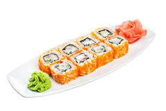 Sushi (California Roll) on a white background. Japanese Cuisine - Sushi (California Roll) on a white background Royalty Free Stock Image