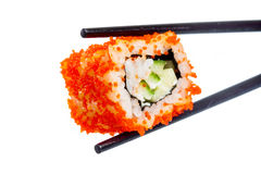 Sushi (California Roll). On a white background Stock Photos