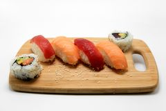 Sushi Surprise Platter. Sushi and California rolls on a platter Royalty Free Stock Photo