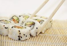 Sushi - California rolls with salmon Royalty Free Stock Photo