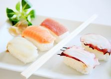 Sushi california on white plate Stock Photo