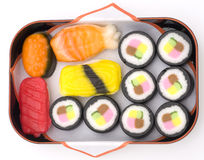 Sushi candy. Candy that looks like sushi in a basket Royalty Free Stock Photo