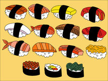 SUSHI Cartoon. Many kind of SUSHI Cartoon Stock Image