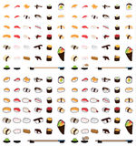Sushi cartoon and sticker set Royalty Free Stock Photos