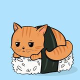 Sushi cat roll. Creative conceptual still life illustration. Cute cat sushi roll royalty free illustration