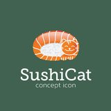 Sushi Cat Vector Concept Symbol Icon of Embleem Stock Fotografie