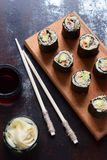 Sushi from cauliflower, avocado and tuna. Traditional Asian food. Diet healthy food concept. Cereal free. Gluten free. Dairy free. AIP Autoimmune Paleo royalty free stock photography