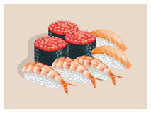 Sushi with caviar, salmon and shrimp. Sushi with caviar, salmon and shrimp on a beige background royalty free illustration
