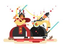 Sushi character samurai design. Japanese warrior cut seafood roll, vector illustration Royalty Free Stock Images