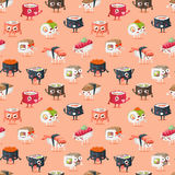 Sushi character vector food seamless pattern Stock Photos