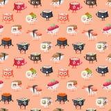 Sushi character vector food seamless pattern vector illustration
