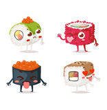 Sushi character vector. Fun sushi character vector . Japanese emotions sushi character food with cute face vector illustration. Japanese comic seafood cuisine vector illustration