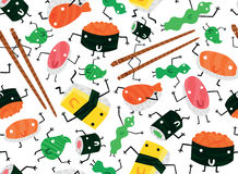 Sushi Characters Seamless Background Royalty Free Stock Photography