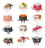 Sushi characters vector set. Stock Photo