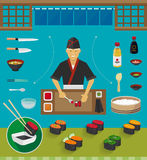 Sushi Chef and Cookware Sets, Gunkan Maki Sushi Royalty Free Stock Photography