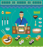 Sushi Chef and Cookware Sets, Maki Sushi Stock Photos