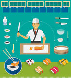 Sushi Chef and Cookware Sets, Nigiri Sushi Stock Photos