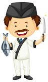 Sushi chef with fish and knife. Illustration Stock Photo