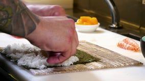 Sushi Chef Preparing Salmon Peach Futomaki Roll stock video