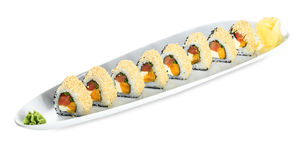 Sushi Cheops Roll plate isolated on white Stock Photography