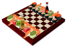 Sushi chess, vector illustration Royalty Free Stock Image