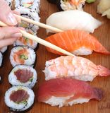 Sushi and chopstick Royalty Free Stock Photos