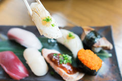 Sushi with chopstick Royalty Free Stock Image