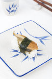 Sushi with chopstick and plate Royalty Free Stock Photo