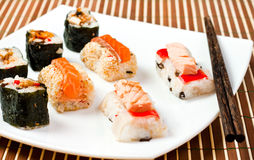 Sushi and chopsticks Stock Photography