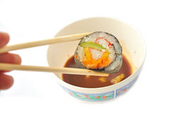 Sushi and Chopsticks Royalty Free Stock Photography