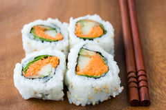 Sushi and chopsticks Stock Image