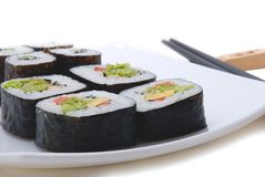 Sushi and chopsticks Royalty Free Stock Photos