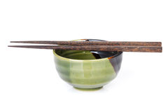 Sushi chopsticks and bowl Stock Photo