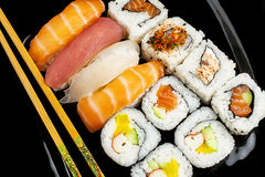 Sushi Chopsticks Closeup Nigiri Maki royalty free stock photos