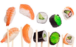 Sushi with chopsticks stock illustration