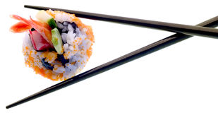 Sushi and chopsticks isolated on white Royalty Free Stock Photos