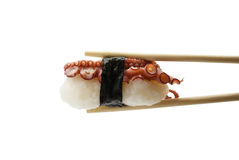 Sushi in chopsticks isolated on white background Royalty Free Stock Photography