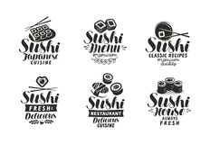 Sushi and Rolls logo or label. Japanese food set of symbols. Typographic design vector illustration. Sushi, chopsticks logo or label. Japanese food set of Stock Photo